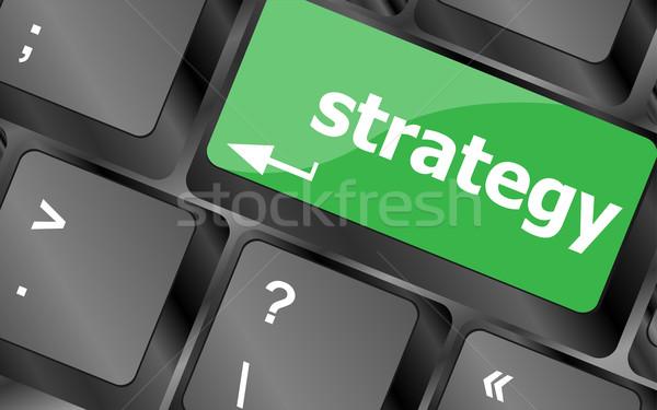 Stratégia gomb billentyűzet kulcs üzlet pénz Stock fotó © fotoscool