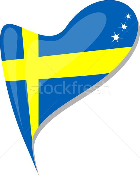 Svezia cuore icona bandiera vettore arte Foto d'archivio © fotoscool