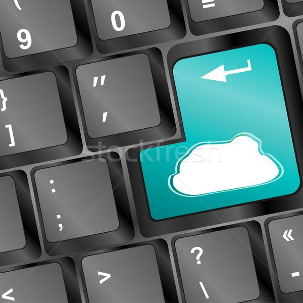 Felhő ötlet számítógép billentyűzet égbolt munka Stock fotó © fotoscool