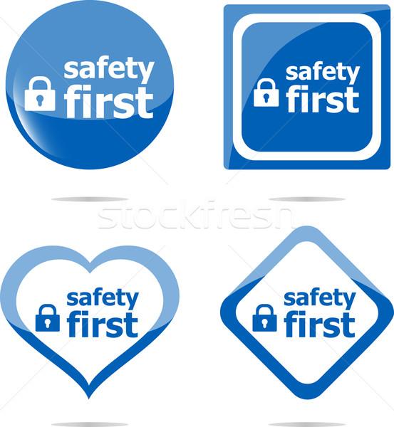 Biztonságos zár felirat címke biztonság első Stock fotó © fotoscool