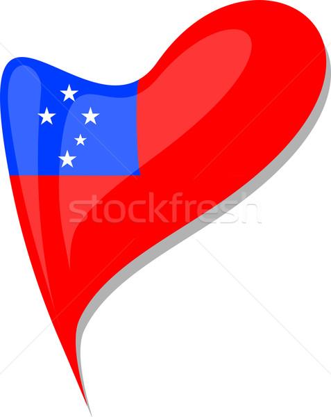 Samoa vlag knop hartvorm vector icon Stockfoto © fotoscool