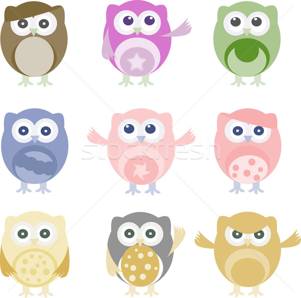 Set of nine cartoon owls with various emotions Stock photo © fotoscool
