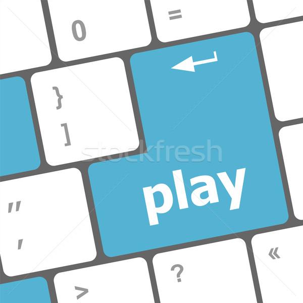 играть слово кнопки компьютер интернет Сток-фото © fotoscool