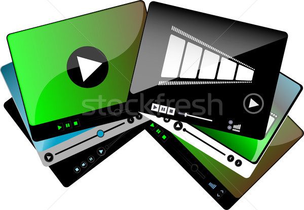 video movie media player interface set isolated Stock photo © fotoscool