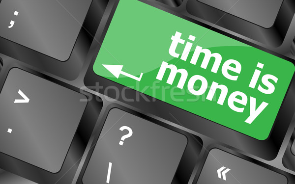 Tijd woord tijd is geld computer toetsenbord Stockfoto © fotoscool