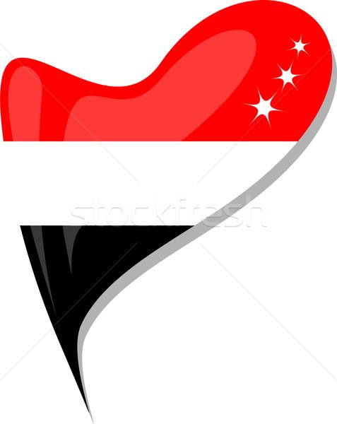 Йемен флаг кнопки формы сердца вектора икона Сток-фото © fotoscool
