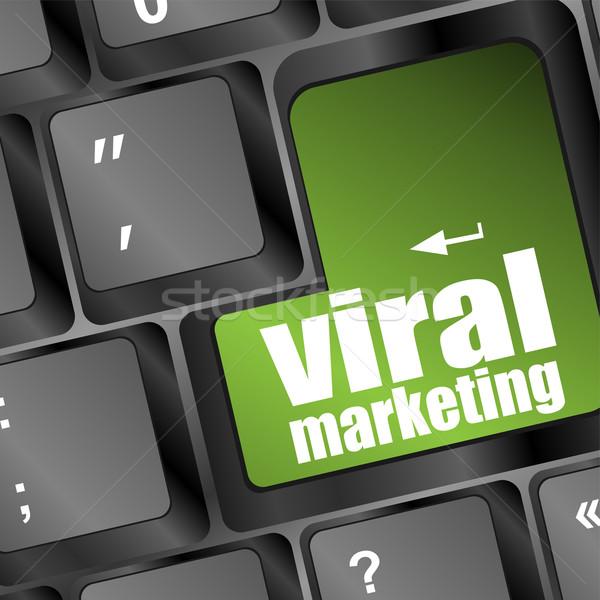 Virális marketing szó számítógép billentyűzet számítógép hírek Stock fotó © fotoscool
