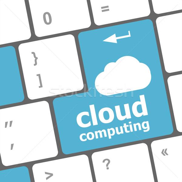 Tonen cloud icoon computer sleutel technologie Stockfoto © fotoscool