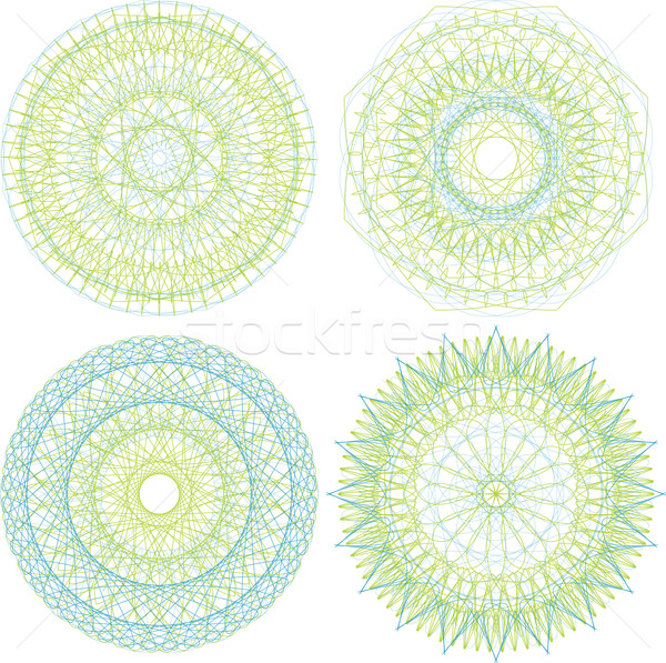 Set of guilloche rosettes certificate or diplomas, decorative elements Stock photo © fotoscool