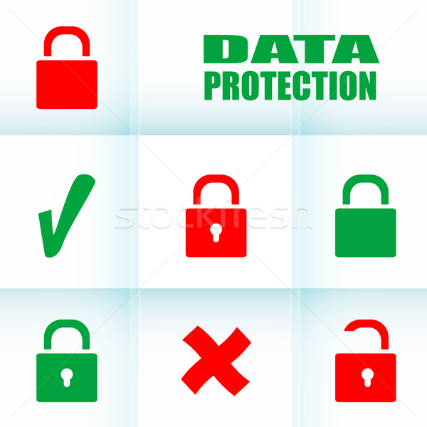 Security concept: Lock set on digital screen, data protection Stock photo © fotoscool