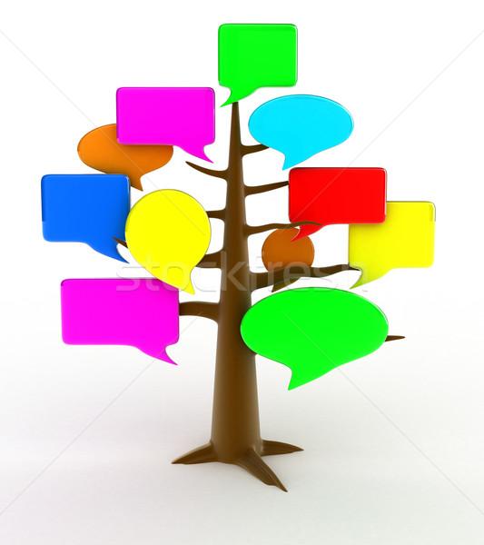 Forum arbre illustration blanche web parler Photo stock © FotoVika
