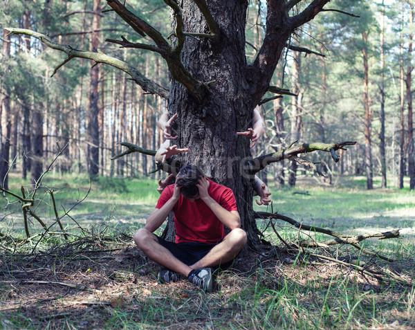 Boy under a tree Stock photo © FotoVika