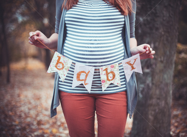 Foto stock: Embarazadas · nina · hermosa · mujer · embarazada · grande · vientre