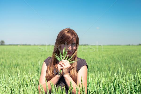 девушки пшеницы красивая девушка женщину небе солнце Сток-фото © FotoVika