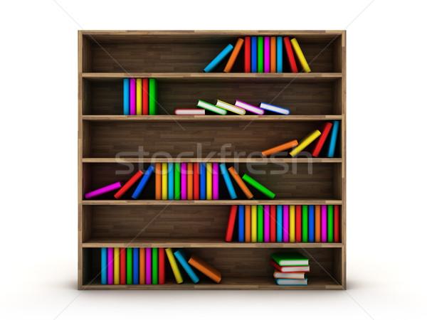 книжный шкаф иллюстрация книгах различный цвета древесины Сток-фото © FotoVika