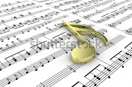 Ayar çatal altın yazılı notlar Metal Stok fotoğraf © FotoVika