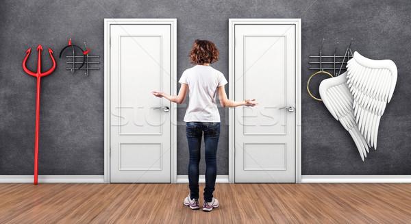 Dziewczyna drzwi 3d ilustracji biały kobieta drzwi Zdjęcia stock © FotoVika