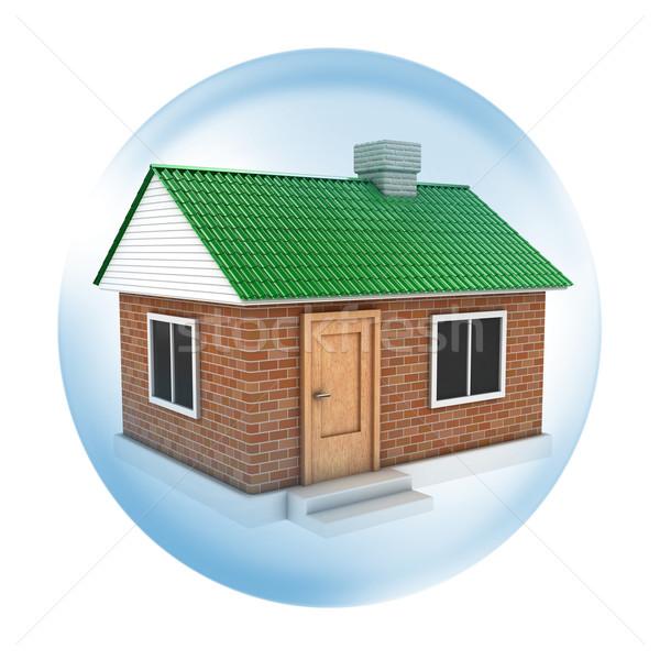 Huis illustratie groene dak zeepbel water Stockfoto © FotoVika