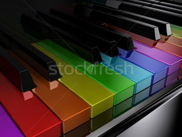 Foto stock: Arco-íris · piano · preto · teclas · de · piano · diferente · cores