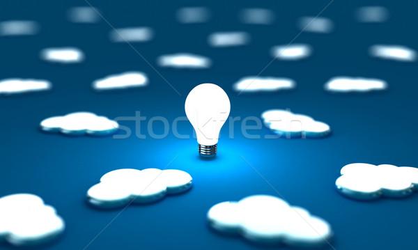Wolken veel een gloeilamp Blauw computer Stockfoto © FotoVika