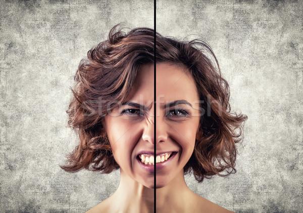 Diferente emoções foto menina cara mulher Foto stock © FotoVika