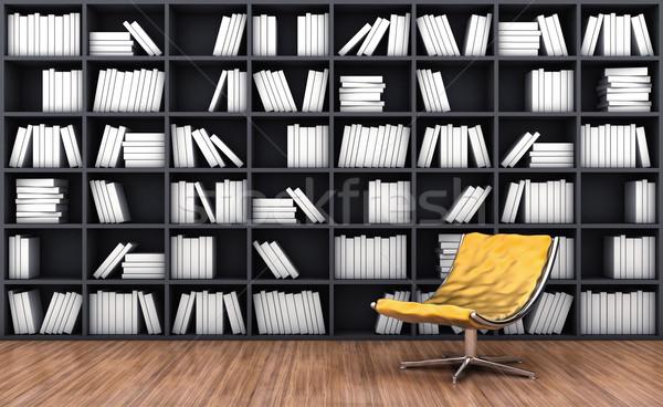 Könyvszekrény fotel 3d illusztráció narancs szín fa Stock fotó © FotoVika
