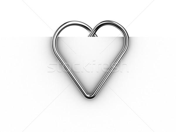 Gemkapocs illusztráció űrlap szív lap papír Stock fotó © FotoVika
