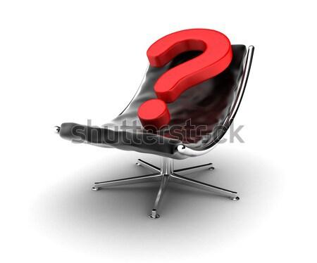 Fauteuil illustratie zwarte vraag teken meubels Stockfoto © FotoVika
