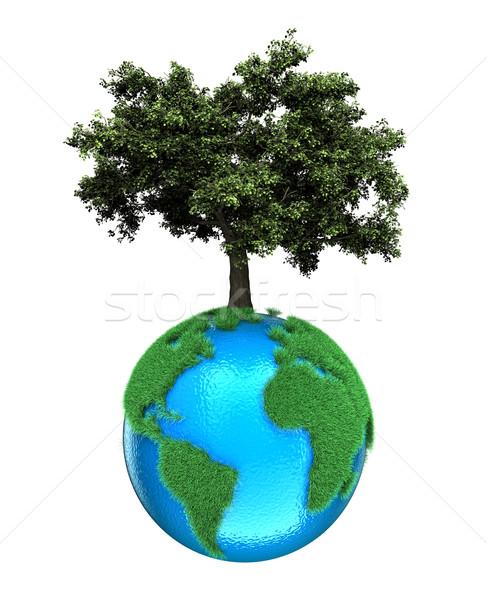 Pianeta albero illustrazione bianco erba mondo Foto d'archivio © FotoVika