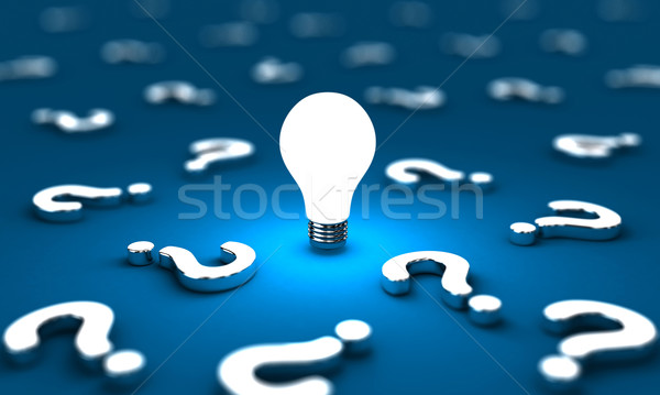 Questions beaucoup une ampoule bleu affaires Photo stock © FotoVika