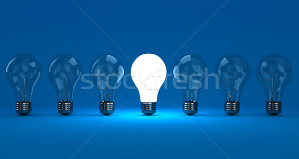 Lampade fila uno splendente blu luce Foto d'archivio © FotoVika