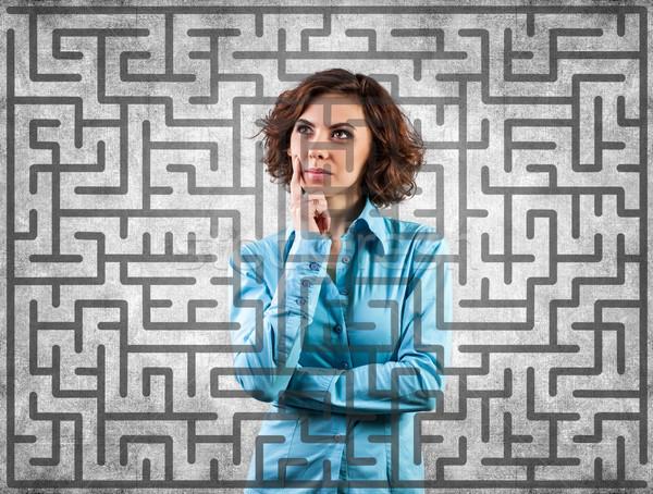 Meisje labyrint foto moeilijk business vrouw Stockfoto © FotoVika