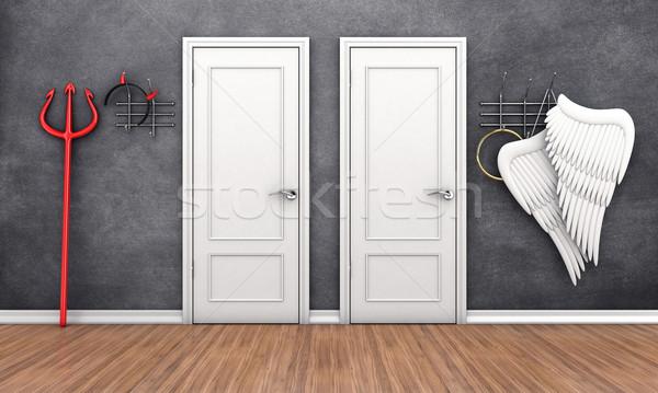 Deuren verschillend 3d illustration twee deur dode Stockfoto © FotoVika