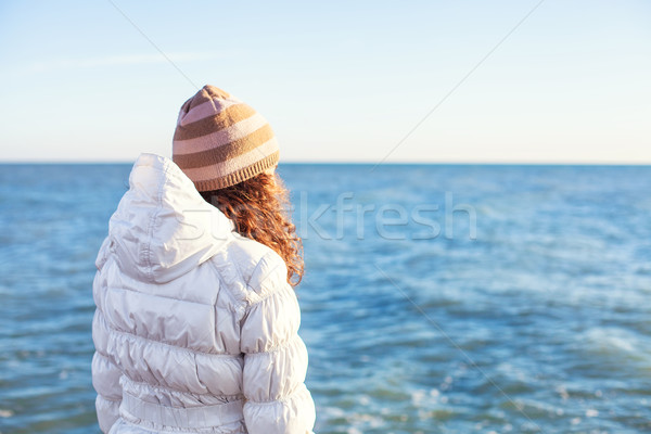 Сток-фото: девушки · пляж · стоять · только · воды