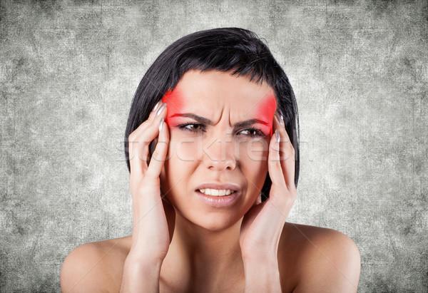 少女 痛い 頭 グレー 女性 手 ストックフォト © FotoVika