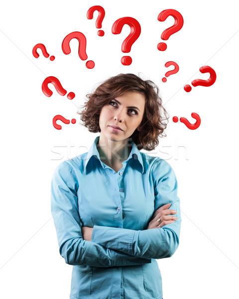 вопросы голову красный красивая девушка женщину девушки Сток-фото © FotoVika