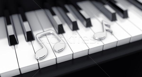 Zongora jegyzetek 3d illusztráció fekete ezüst billentyűzet Stock fotó © FotoVika