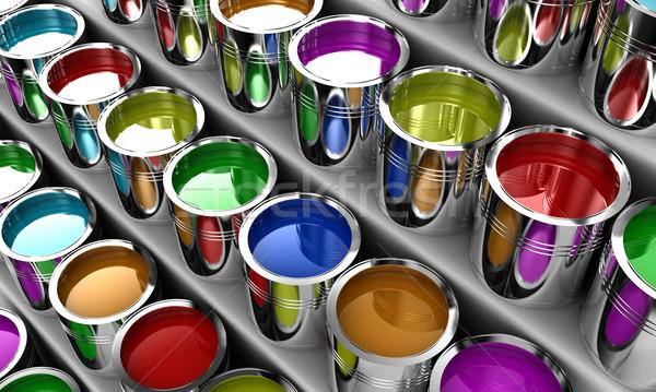 Verf banken verschillend kleuren witte Stockfoto © FotoVika