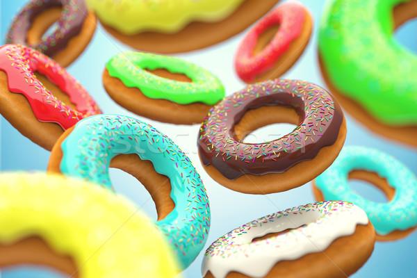 Donuts illustratie smakelijk vliegen lucht voedsel Stockfoto © FotoVika