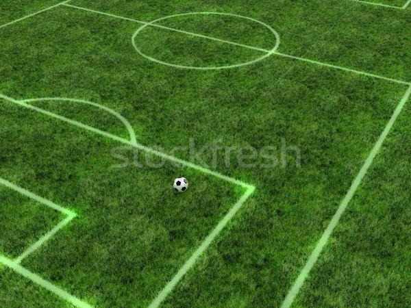 Voetbal bal groene veld witte strips Stockfoto © FotoVika