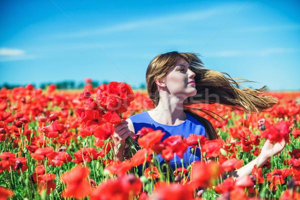 Сток-фото: девушки · красивая · девушка · красный · области · цветок