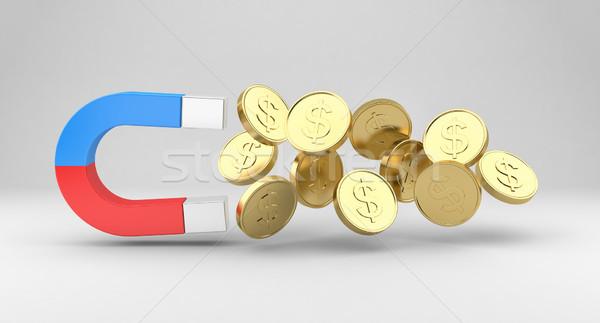 Magnete monete monete d'oro grigio business metal Foto d'archivio © FotoVika