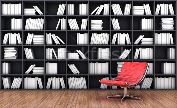 книжный шкаф кресло 3d иллюстрации красный цвета древесины Сток-фото © FotoVika