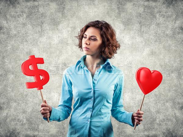 Stock fotó: Lány · pénz · gyönyörű · lány · szeretet · üzlet · kéz