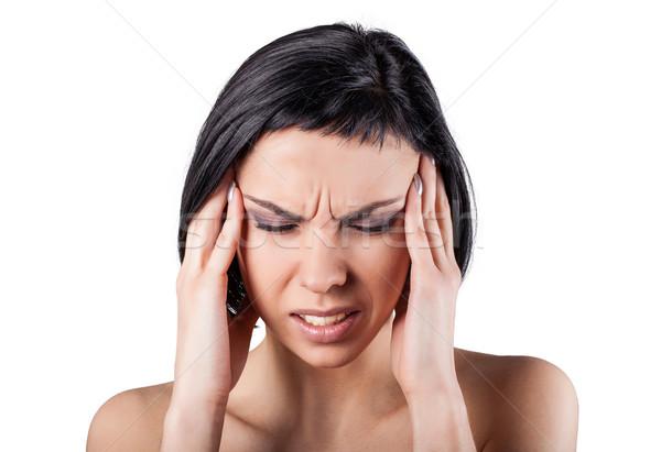 Ragazza dolente testa bianco mano faccia Foto d'archivio © FotoVika