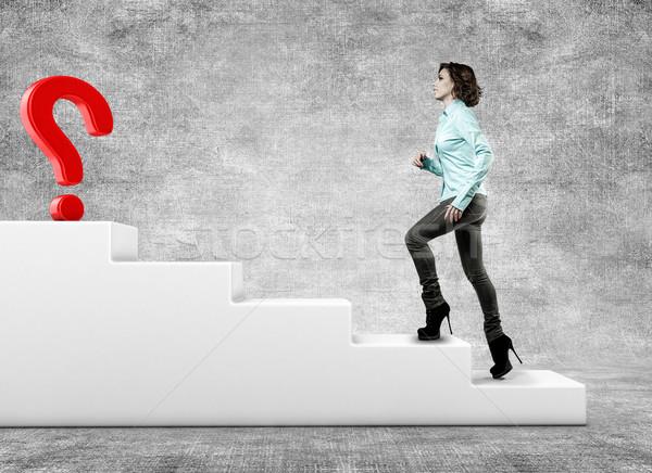 девушки лестнице женщину будущем успех женщины Сток-фото © FotoVika