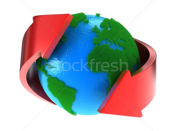 Stock fotó: Bolygó · Föld · zöld · kontinensek · nyilak · körül