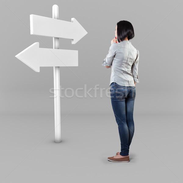 девушки дорожный знак белый страхом неизвестный бизнеса Сток-фото © FotoVika