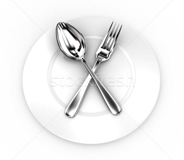 Villa kanál tányér illusztráció fehér étel Stock fotó © FotoVika