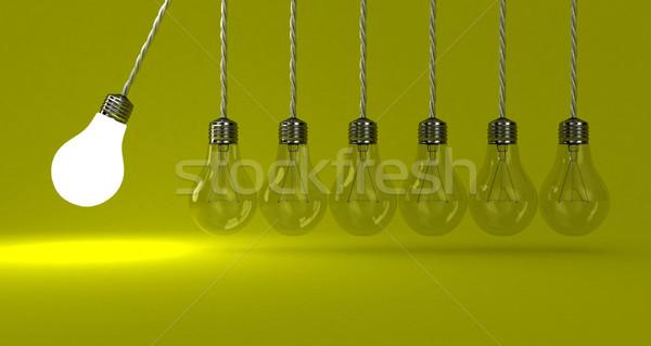 Lámpák illusztráció inga citromsárga fény energia Stock fotó © FotoVika